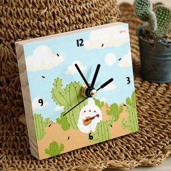 몰랑이 작은 나무시계 - 선인장