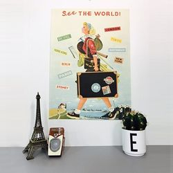cavallini 포스터+보관통 Set - See The World