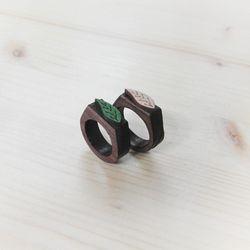 [나무커플링]장미목 나뭇잎 나무반지(2color)