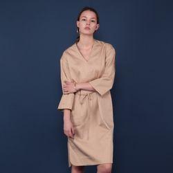[MOHAN] V-NECK SLIT SHIRT DRESS BEIGE