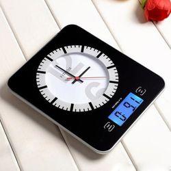 블랙 레트로 시계 겸 LCD 디지털 전자저울