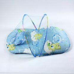 유아용 원터치 휴대용 매트 모기장 블루 90x50x46