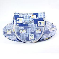 유아용 원터치 휴대용 곰돌이 모기장 블루 106x60x41