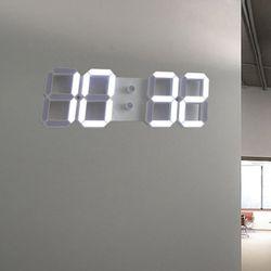 3D 모던 LED 넘버 벽시계(리모콘 포함)-화이트