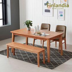 핀란디아 오스턴 4인식탁세트(와이드형의자2롱벤치1)