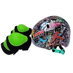 랑스 아동헬멧+무릎팔꿈치보호대세트 블랙
