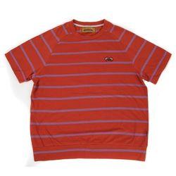Stripe crewneck T-shirt(scarlet)