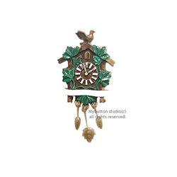 [Mybutton]Cuckcoo Clock.뻐꾸기 시계 동화브로치