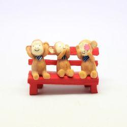 원숭이 3종 레드나무벤치 세트 미니어쳐