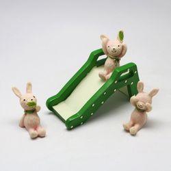 토끼 3종 그린미끄럼틀 세트 미니어쳐