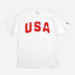 Champion USA Crew Neck T-shirt USA STAR white
