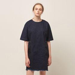 [MOHAN] DENIM SHORT DRESS INDIGO BLUE