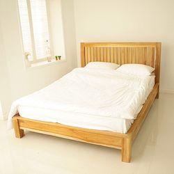 티크 슬랫 원목 침대