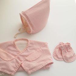날아라미쎄스깡 오가닉 체크 핑크 배냇저고리 세트