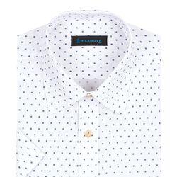 반팔일반]네이비 패턴 화이트 반팔셔츠