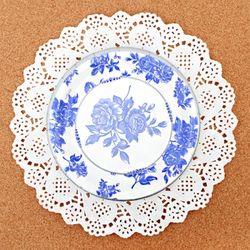 파티접시 블루꽃-18cm