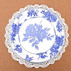 파티접시 블루꽃-23cm