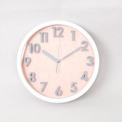 볼록숫자 저소음 벽시계 - 핑크