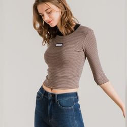 STRIPE NARROW CROP BROWN