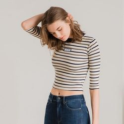 STRIPE WIDE CROP IVORY
