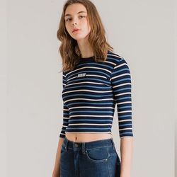 STRIPE WIDE CROP BLUE