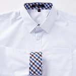 교복 남자셔츠[화이트] 블루브라운체크