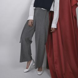 WOOL WIDE PANTS(GREEN)(GRAY)