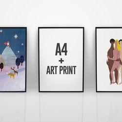 슬림 베이직 프레임 A4 (아트프린트 포함)