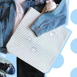 몰랑 스트라이프 에코백 - 블루
