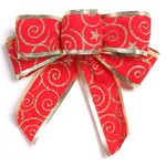 레드무늬벨벳리본(3cm) 2단 (2개입) 크리스마스장식