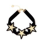 Three Gold Star Velvet Choker