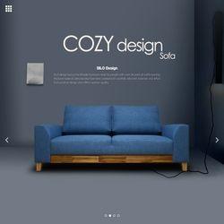 코지 아카시아 3인용 페브릭 쇼파 블루