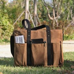 8 Pocket 3 Way Bag Wax Canvas Camel