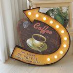 커피 화살표 전등 사인보드