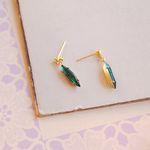 심플 그린 지르코니아 드롭 earring