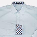 교복왕 교복셔츠-소라색셔츠 블루브라운체크