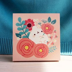 작은 나무액자 - 분홍꽃송이