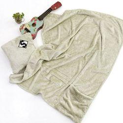 카키 포켓 극세사 담요소형 75x100