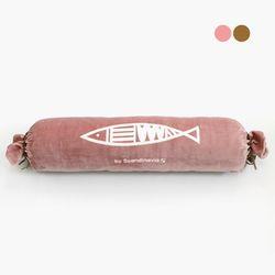 청어 극세사 원형 롱쿠션-핑크 (커버만)