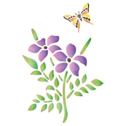 [문고리닷컴] 스텐실 도안꽃과 나비