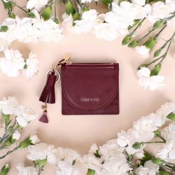 태슬+미니에코백 French Card Wallet - Burgundy