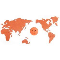 접착식 무소음 세계지도 벽시계 (대형-오렌지)