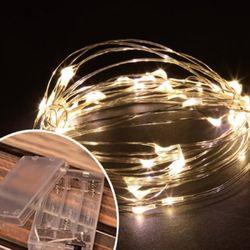 LED 50P 와이어 건전지(밧데리)전구 [웜]