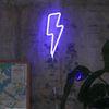 번개 네온 조명 블루 Lightning bolt neon light-blue