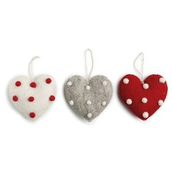 X-Mas Heart with Dots Set of 3 pcs