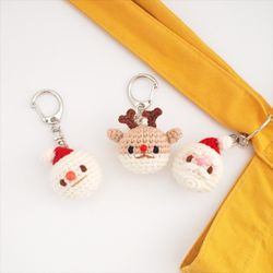산타 눈사람 루돌프 크리스마스 열쇠고리 키링(얼굴)