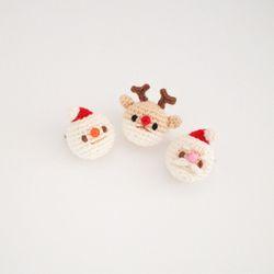 손뜨개 산타 눈사람 루돌프 크리스마스 브로치 뱃지