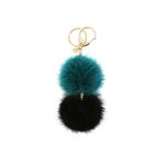 Katy double mink key ring blue green black