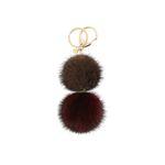 Katy double mink key ring brown burgundy