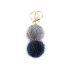 Katy double mink key ring gray blue